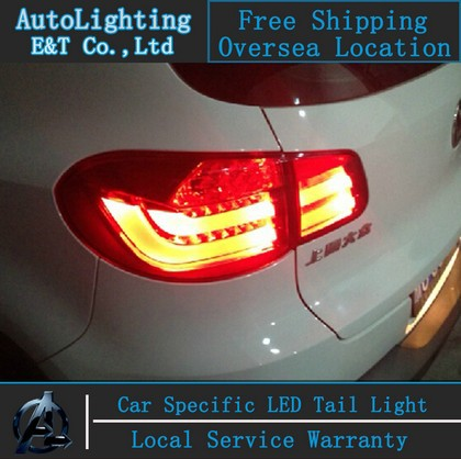 New Generation High Quality LED DRLs+Brake Lights+Reversing Lights+Turn Singnal Car Rear Taillights Tail Lamps For VW Tiguan(China (Mainland))