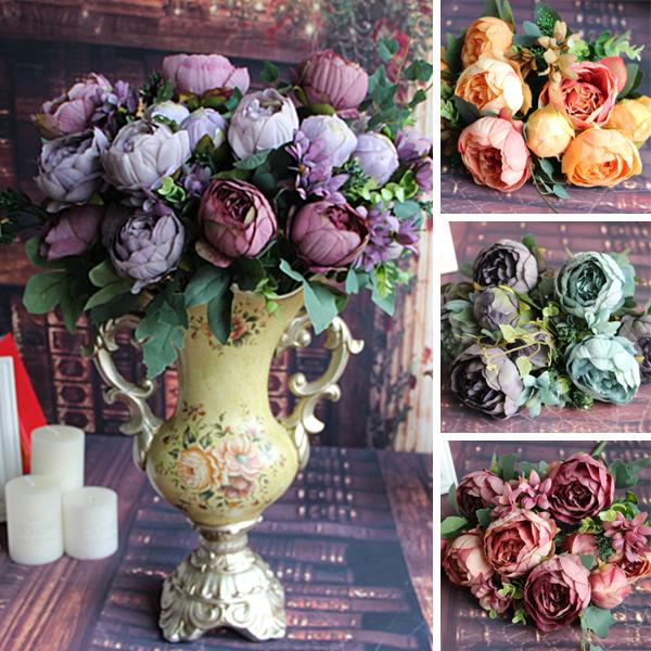 Artificial Fake Peony Silk 12 Heads Flowers Bridal Flower Arrangement