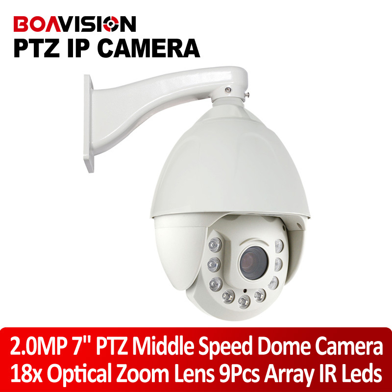 7 Inch Onvif HD 1080P 2MP IP Middle Speed Dome PTZ Camera 18x Optical Zoom IR 120M IR-CUT 9 Array Leds Outdoor P2P View(China (Mainland))