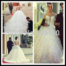 Women Sexy Arab Bridal A Line Custom Made Floor Length Long Wedding Gown design PX234 long sleeve white lace wedding dress