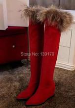 Envío gratis sobre la rodilla botas de piel de zorro gamuza cuña botas invierno mujeres nieve zapatos de la bota caliente dedo del pie puntiagudo botas(China (Mainland))