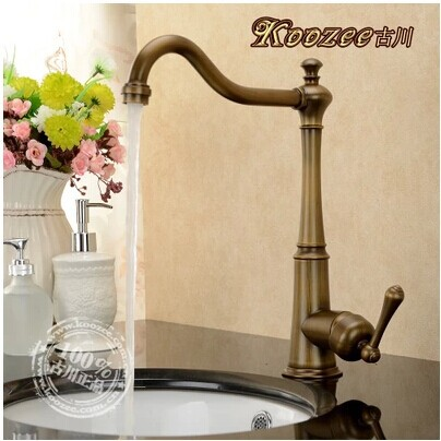 Furukawa genuine antique full copper kitchen faucet hot and cold single handle single hole green bronze brushed rotating Europea<br><br>Aliexpress