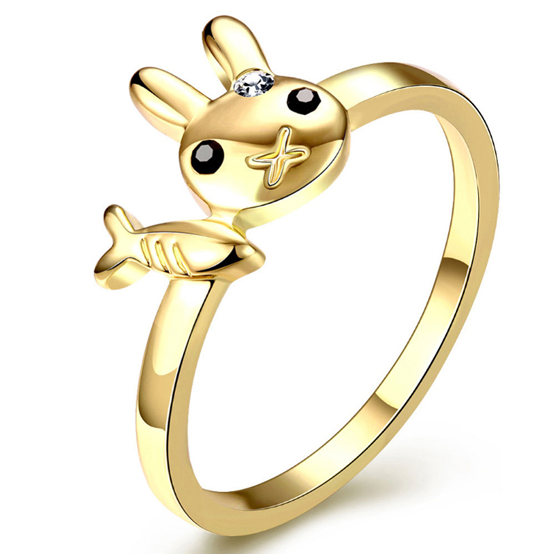 New Brand Gold Rhinestone Rabbit Design Ring for Girls Cute Carot & Rabbit Rings US Size 7, 8 Available(China (Mainland))