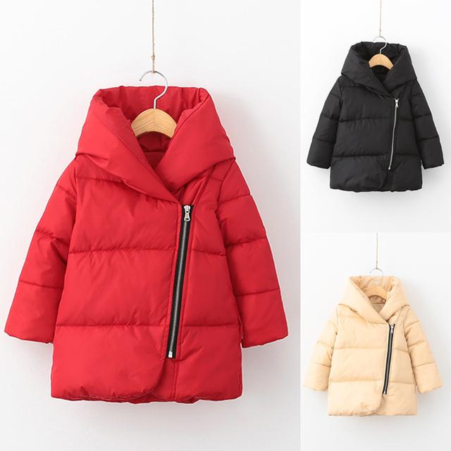 Зима Дети Девушки Теплая Вниз и Парки Дети Длинные Верхняя Одежда Куртки и Пальто для девочек