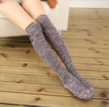 fastener top thigh high over knee high quality mix colorful cotton yarn autumn winter knitted ladies women brand stocking
