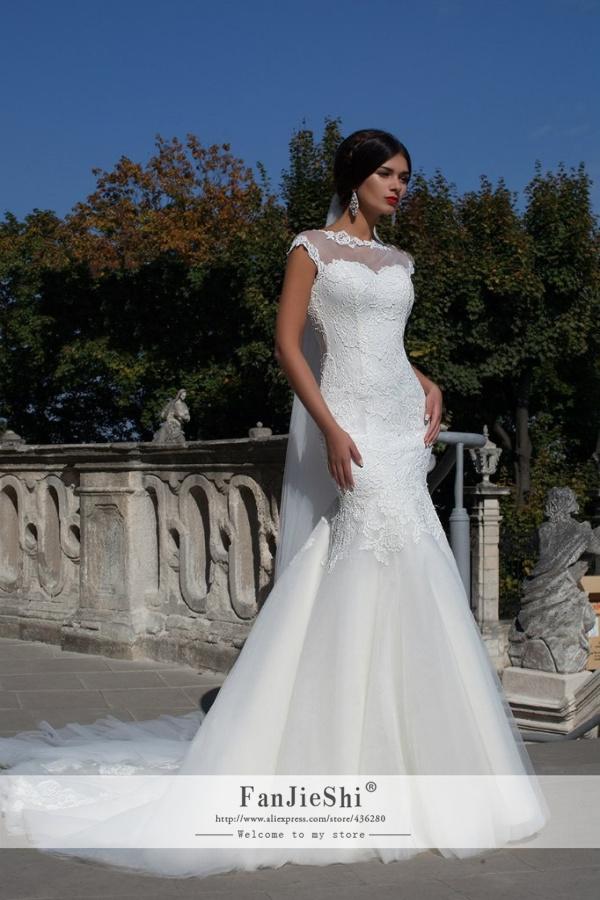 Fashion Vestido De Noiva Cap Sleeve Scoop Neckline Appliques Backless 2015 Elegant Mermaid Long Wedding Dresses - Suzhou FanJieShi Dress Co., Ltd. store