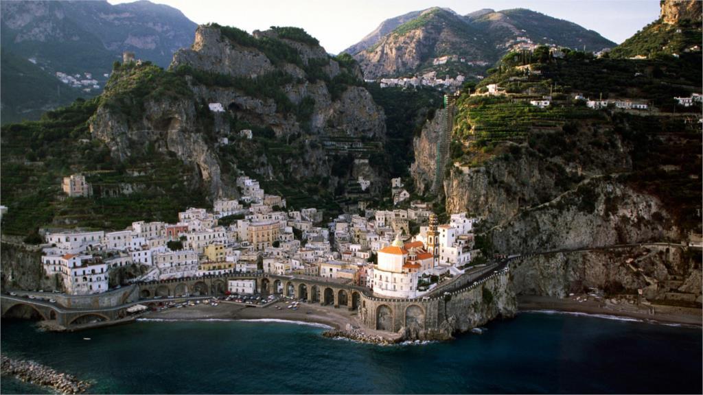 Beautiful amazing great Landscape houses mountains rock city Italy sea Atrani Coast 4-size Canvas Poster(China (Mainland))