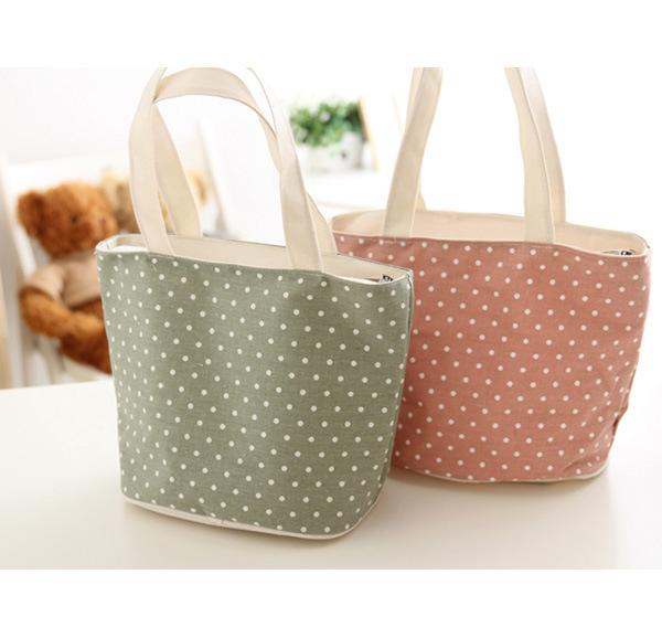 Brand Handbag Women Fashion Casual Zipper Polka Dot Printing Tote Female Canvas Cheap Bags Shopping Handbags(China (Mainland))
