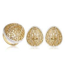 Blucome גדול סגלגל צורת גדול גודל Stud עגילי טבעת סט אבץ סגסוגת תכשיטי סטי זהב צבע טבעות לנשים כלה מסיבת חתונה(China)