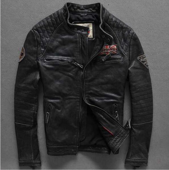 2016 Male Leather Jacket European And American Fashion biker jacket leather vintage Punk Zipper winter Motorcycle jackets M-XXXL(China (Mainland))