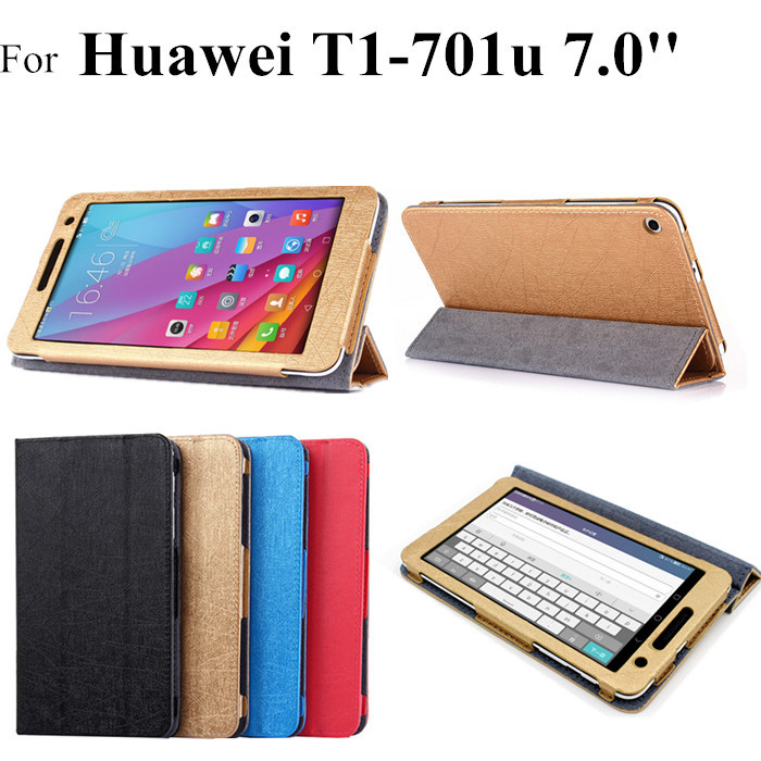 2015 NEW T1-701u flip leather case For Huawei Mediapad T1 7.0 T1-701 Tablet Cover Case +protectors +stylus(China (Mainland))