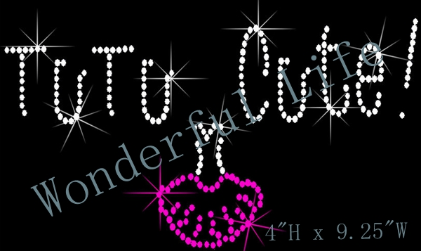 Free shipping and free gift TuTu Rhinestone Iron On Transfer rhinestone iron on transfers(China (Mainland))