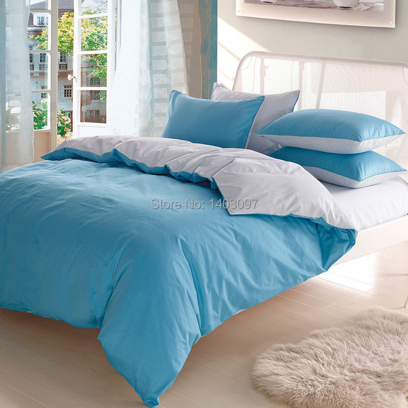 Bedding set 4pcs 100 cotton solid color queen king for Luxury cotton comforter sets