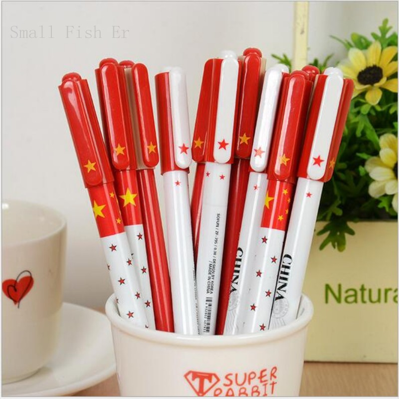 12 pcs/lot Creative Chinese Style Gel Pen Cute National Flag 0.5mm Black Ink Pen Stationery office school supplies accessories(China (Mainland))
