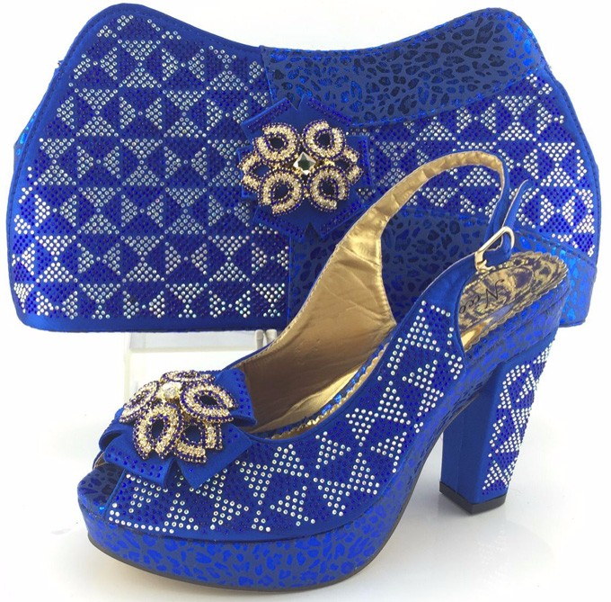 Nigerian Wedding Shoes And Matching Bag Set With Stones High Quality Woman Pumps Shoes African Shoes And Bag Set ME3332