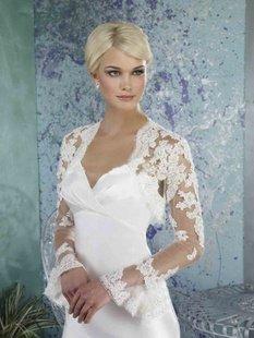 Free shipping Bride shawl Long-sleeved lace Wedding shawl  Bolero Jackets/Organza Bridal Jacket
