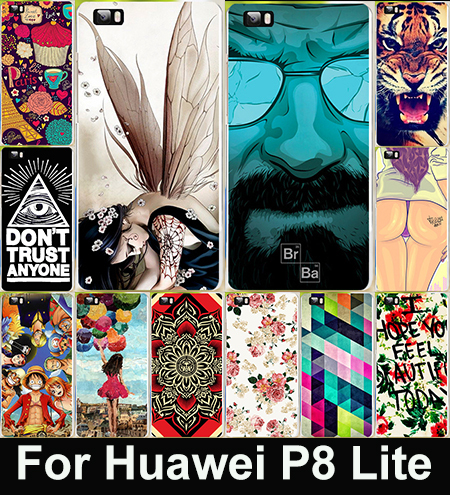 Cute Cartoon Painted Mobile Phone Case Huawei p8 Lite Colorful Protective Case Capa Funda For Huawei