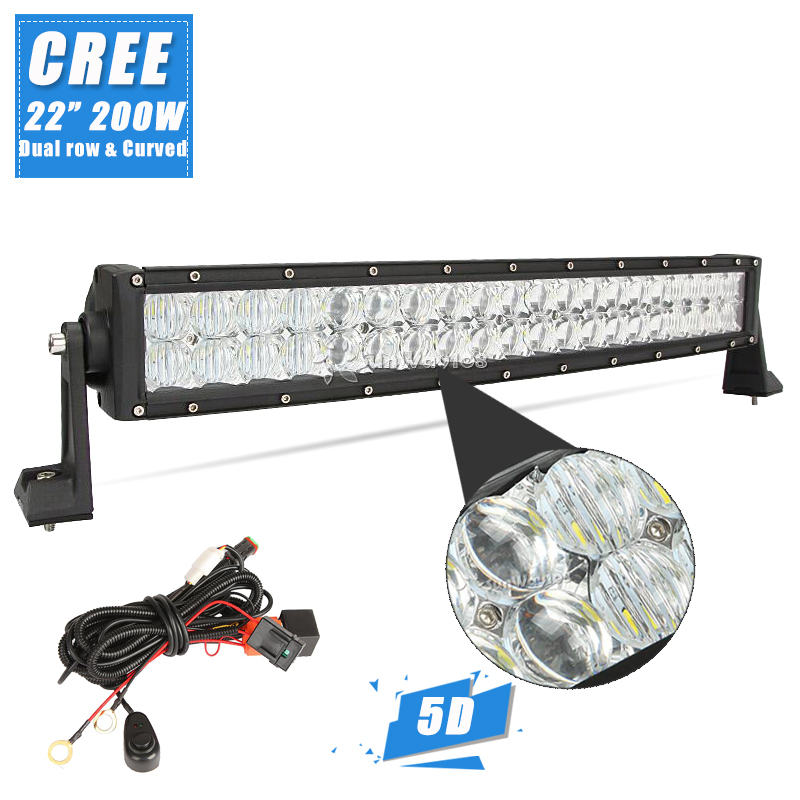 """Cree 5D 200W 22"""" Curved LED Light Bar 12V 24V Car Boat Offroad Driving Vehicle 4x4 Truck ATV Combo Beam LED Bar For Jeep Ford(China (Mainland))"""