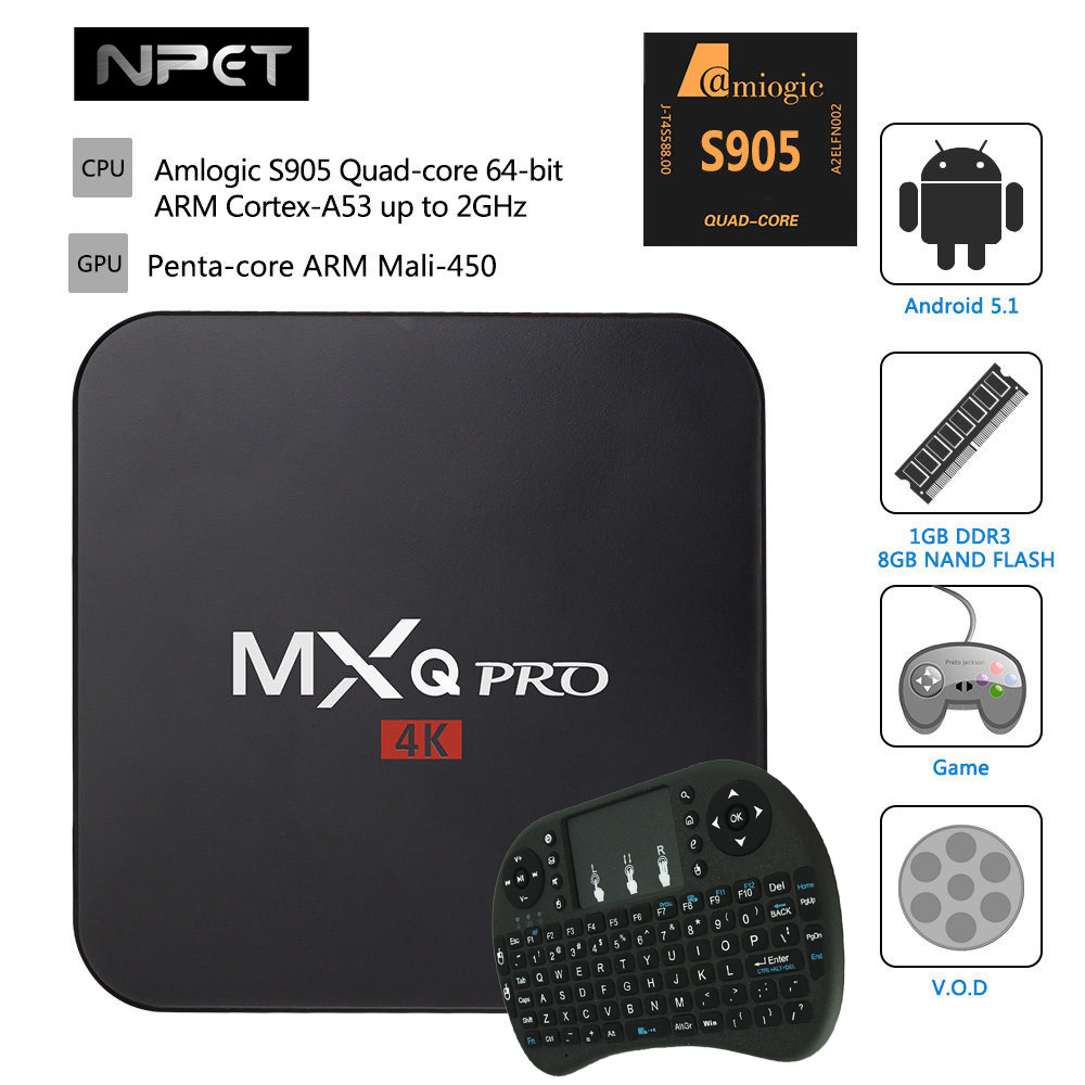 2016 MXQPro + Keyboard Android 5.1 TV Box Kodi 1G/8G Dual Wifi 4K Amlogic S905 Quad-core 64-bit ARM Cortex-A53 2GHz Media Player<br><br>Aliexpress