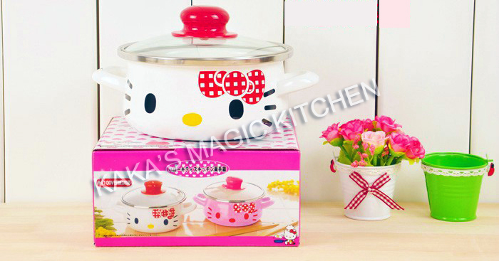 HELLO KITTY Kitchen Utensils Enamel Pot Milk Pot Noodle ears stainless steel enamel gas & induction cooking pots FREE SHIPPING(China (Mainland))