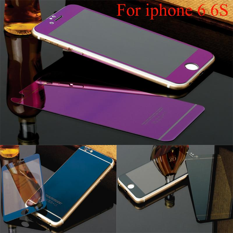 Colorful Tempered Glass Film For iphone 5 5s 5se 6 6s Screen Protector Metal Plating Mirror Film 2PCS Front + Back