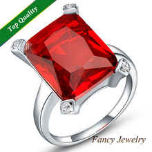 Garnet Ruby Simulated Diamond Crystal Geometry Big 925 Silver Round Rings anillo Jewelry for Wedding Statement Engagement J467