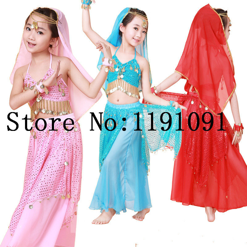 Belly dance costume clothes wear kids dance child children gift indian dance 2pcs-4pcs Top&Pant&Headband&Bracelet,5 colors.