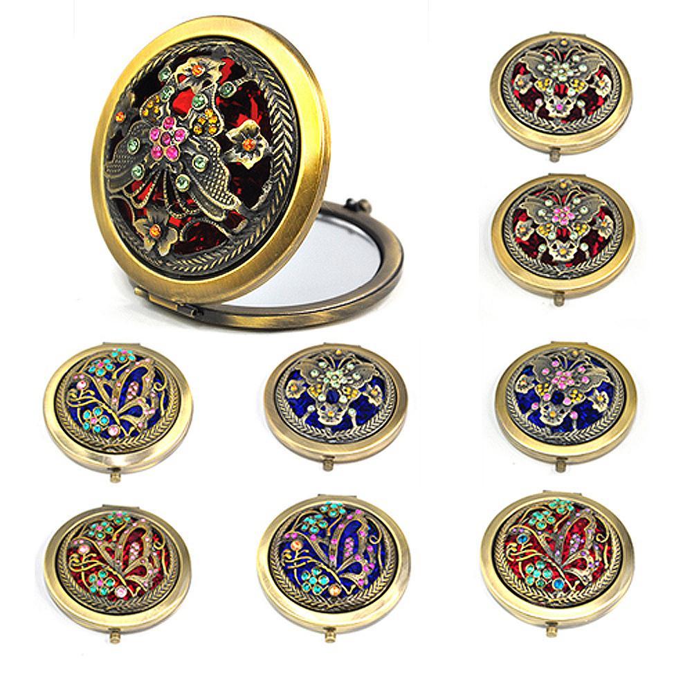 Гаджет  Eastern Classic Bronze Retro Compact Pocket Illuminated Beauty Make up Mirrors free shipping None Красота и здоровье