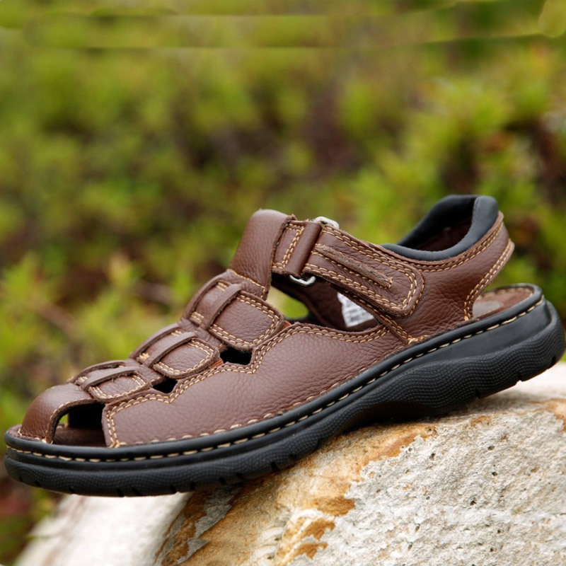 leather gladiator sandals male sandals closed toe Summer men's beach shoes plus size shoes 45 46 47 48 49