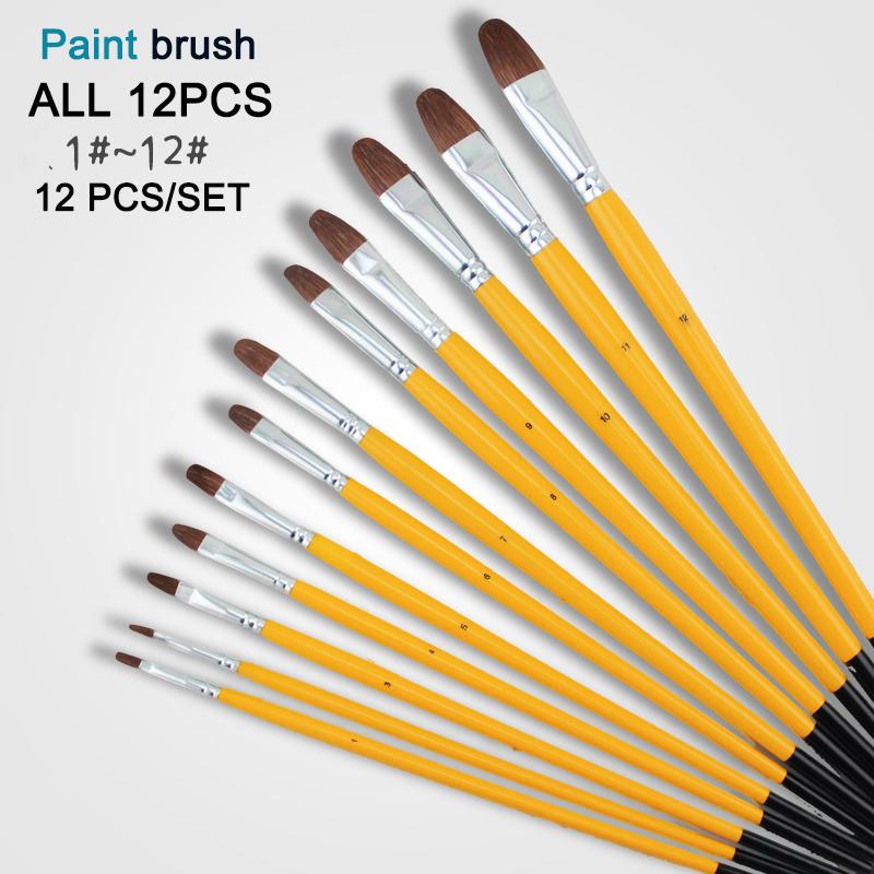 Art Supplies 12Pcs Artist horse Hair Paint Brush Set paint for watercolor <br><br>Aliexpress