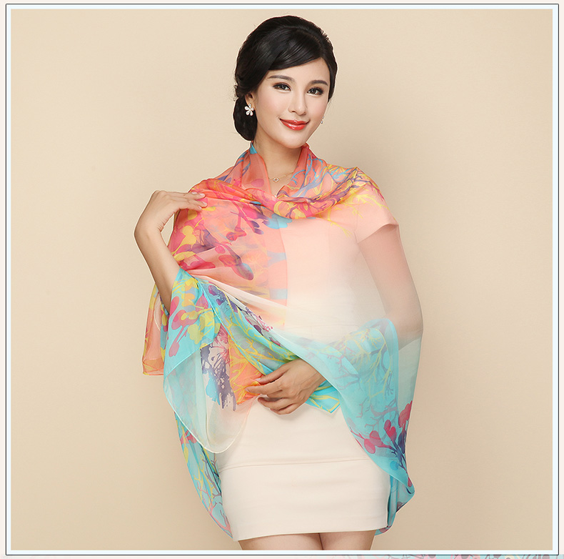180X110CM Fashion georgette silk scarves floral print thin silk chiffon shawls real silk sunscreen cape muslim hijabs capes(China (Mainland))