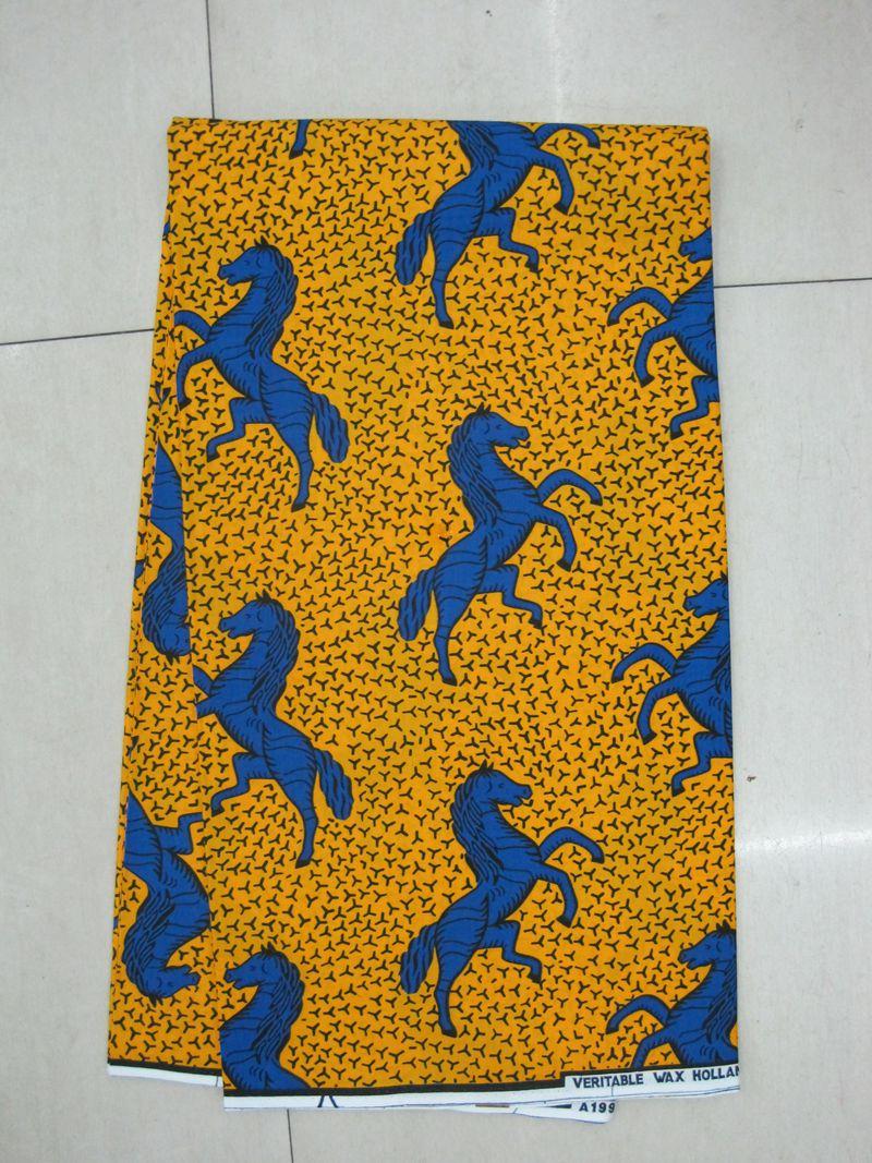 H403 blue horse 6yards 100% cotton veritable wax hollandaise real hollandis wax african fabric print hollandais(China (Mainland))