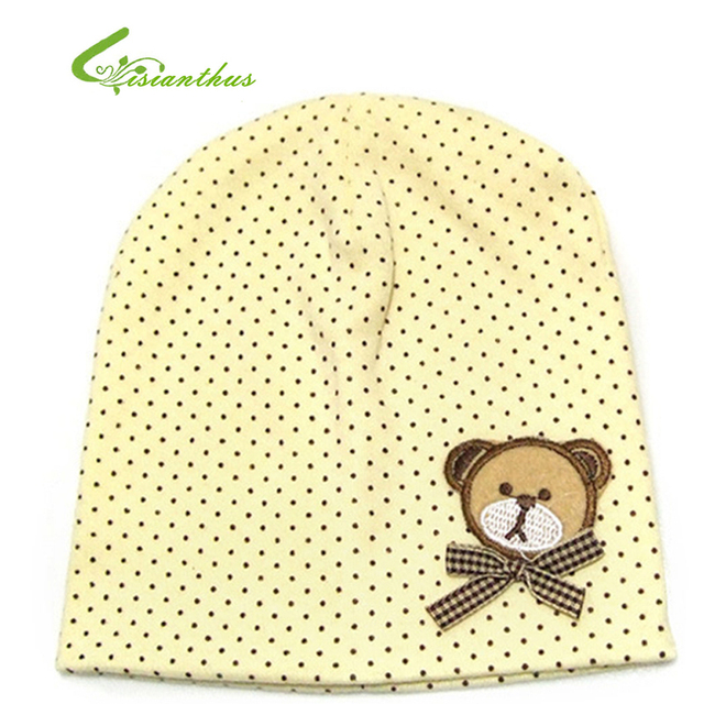 Baby Hat with Bear Baby Head Cap with Cute Little Dots Babys Cotton Cap Spring & Autumn Kids Gift Free Shipping TM002 10pcs/ lot