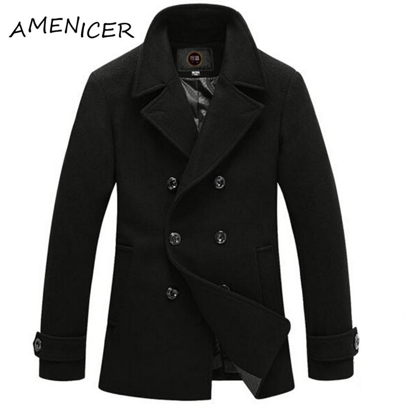 Mens Woolen Coat Double Breasted Overcoat Long Peacoat Casaco Jaqueta Winter-Clothing Wool-Coat Moletom Masculino Sobretudo(China (Mainland))