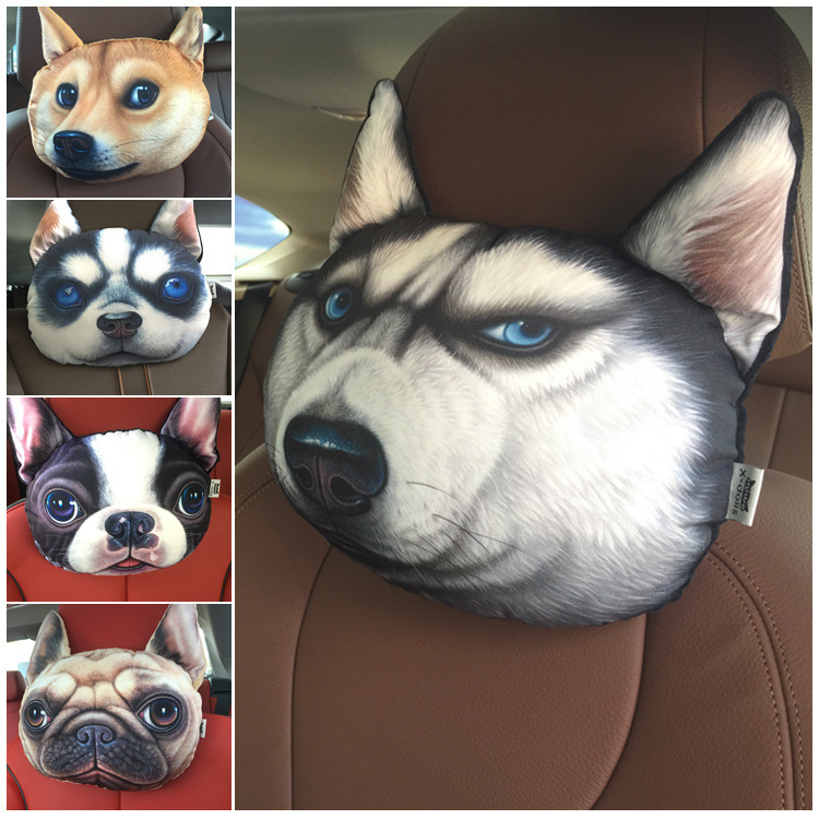 3D Print Dog Cat face car headrest neck pillow stuffed plush car holder,handger,cushion cars accessories set chair seat covers(China (Mainland))