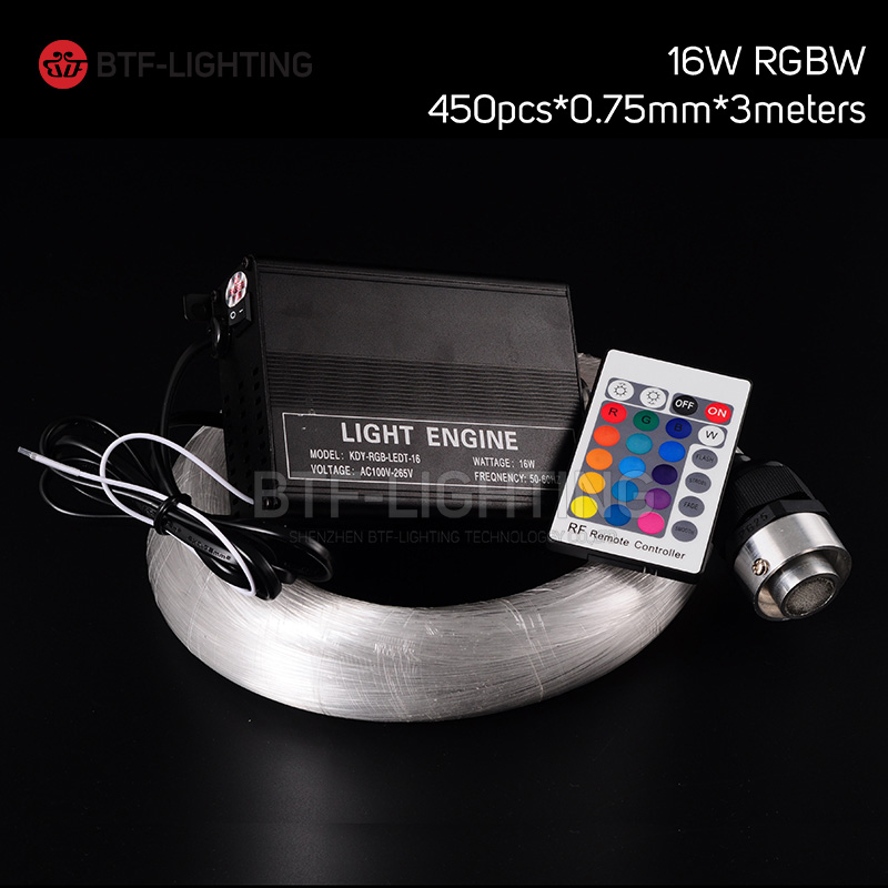 16W RGBW 450pcs*0.75mm*3M LED Fiber optic light Star Ceiling Kit Lights optical lighting+RF 24key Remote engine+5pcs crystal(China (Mainland))