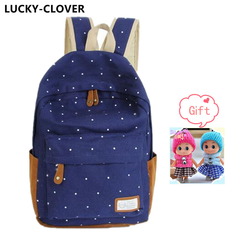 12 color Cute Korean style double-Shoulder book Bags fashion girls women canvas Dots schoolbag middle school students backpacks(China (Mainland))