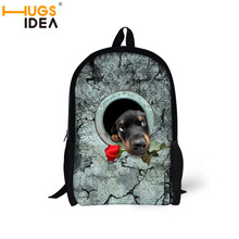 Fashion boys school rucksacks cute hole doggy printing backpacks shoulder bags for teenagers lightweight backpacks for hiking(China (Mainland))