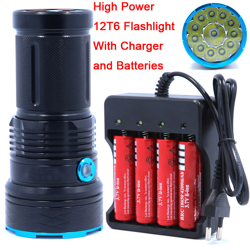 25000 lumens light King 12T6 LED flash light 12*XM-L T6 LED Flashlight Torch Lamp Light For Hunting Camping use 4*18650 battery(China (Mainland))