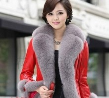 HOT sale  2 color New Fashion Warm Womens Faux Fur collar PU Leather Coat(China (Mainland))