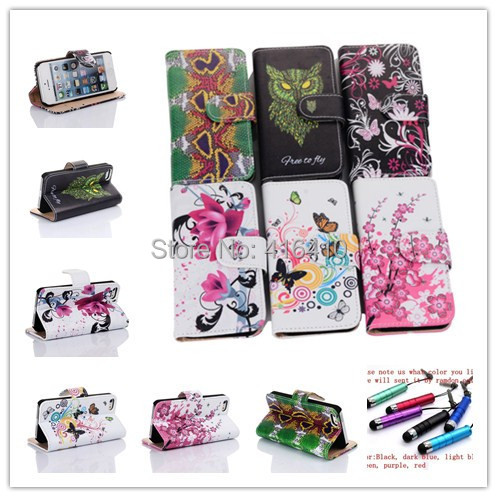 6 Color Leather Wallet Pouch Flip Cell Phones Case For APPLE iPhone 5 5S 5G+1 Stylus(China (Mainland))