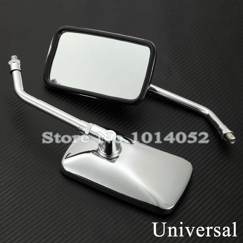 10mm New Universal Classic Rectangle Custom Chrome Motorcycle Rearview Rear View Side Mirrors For Bobber Cruiser Chopper