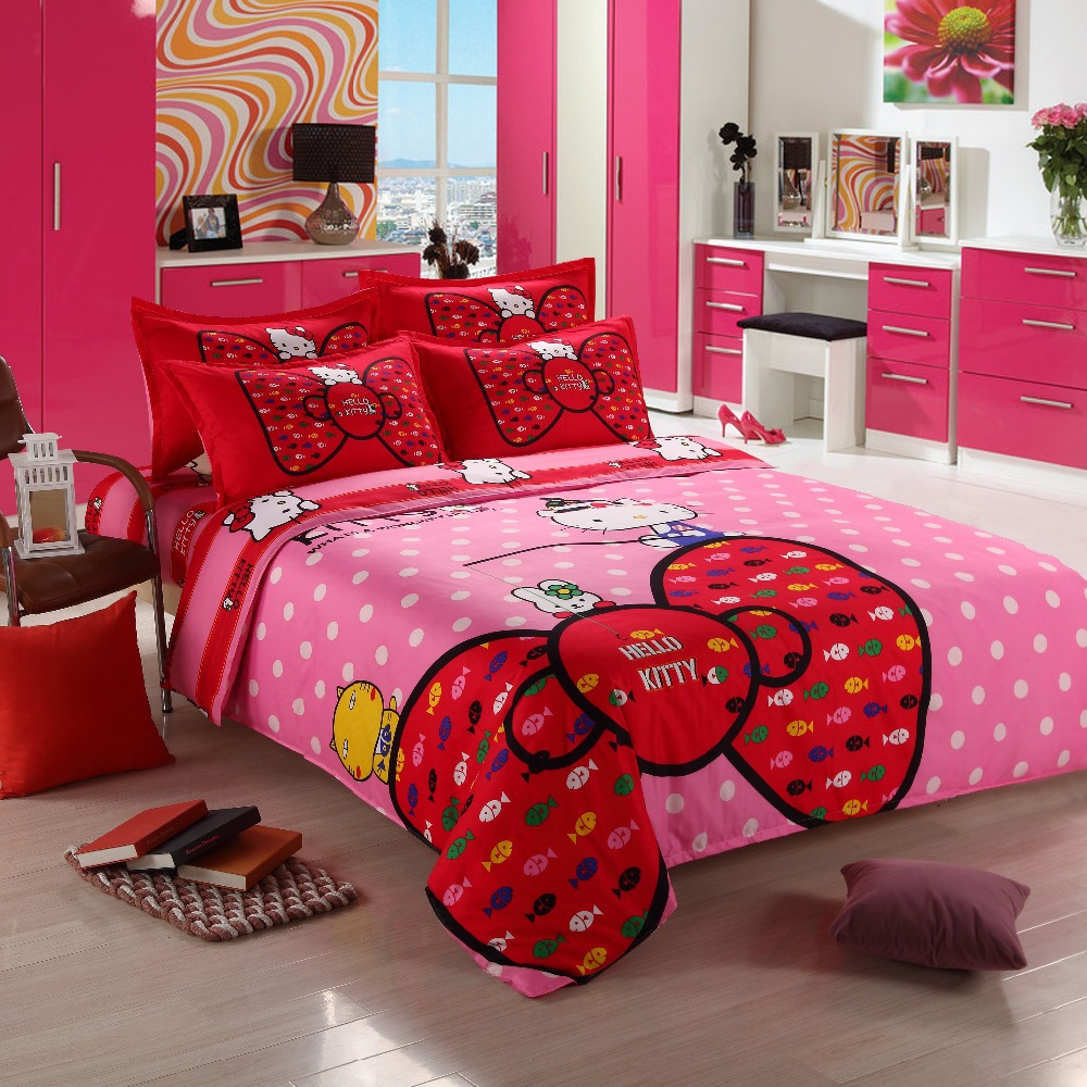 3 4pcs hello kitty bedding sets comforter set duvet cover sets quilt cover bedclothes twin - Hello kitty bedroom set ...