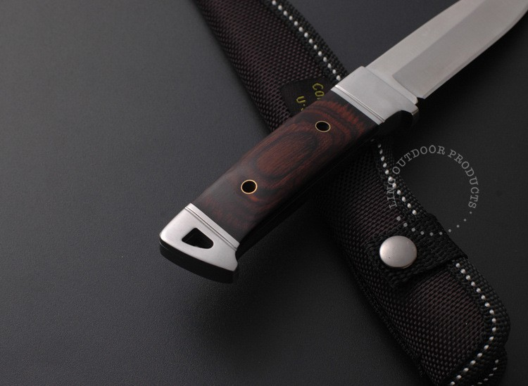 Buy Top Quality 440C 55HRC New Colour Wooden Handle Multi-Functional Survival  Camping Hunting Knife Outdoor Knife Camping tool cheap