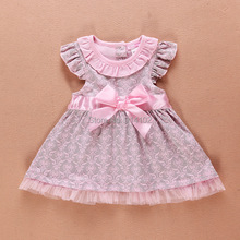 New 2015 Baby Summer Dress Leopard Toddler Girls Princess Dress Top Quality 100%Cotton Bowknot Classic  Dresses(China (Mainland))