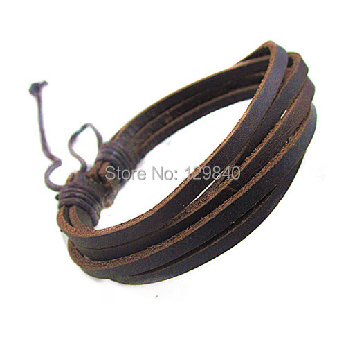 100 Genuine Cowhide Leather bracelet men for women 2014 wholesale fashion leather jewelry