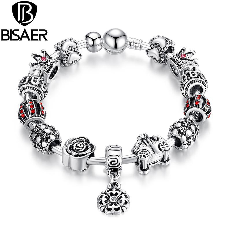 BISAER Pendants Bracelet AMP Bangle Lantern Crown Rose Car Flower Christmas Charm Bracelet Silver Plated Women PA3071(China (Mainland))
