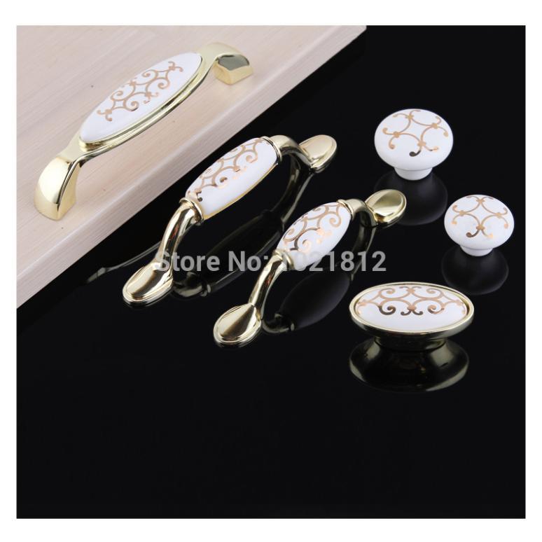 Golden Flower Cabinet Handles Cabinet Cupboard Closet Dresser Drawer Handles Ceramic Bright Golden Pulls<br><br>Aliexpress