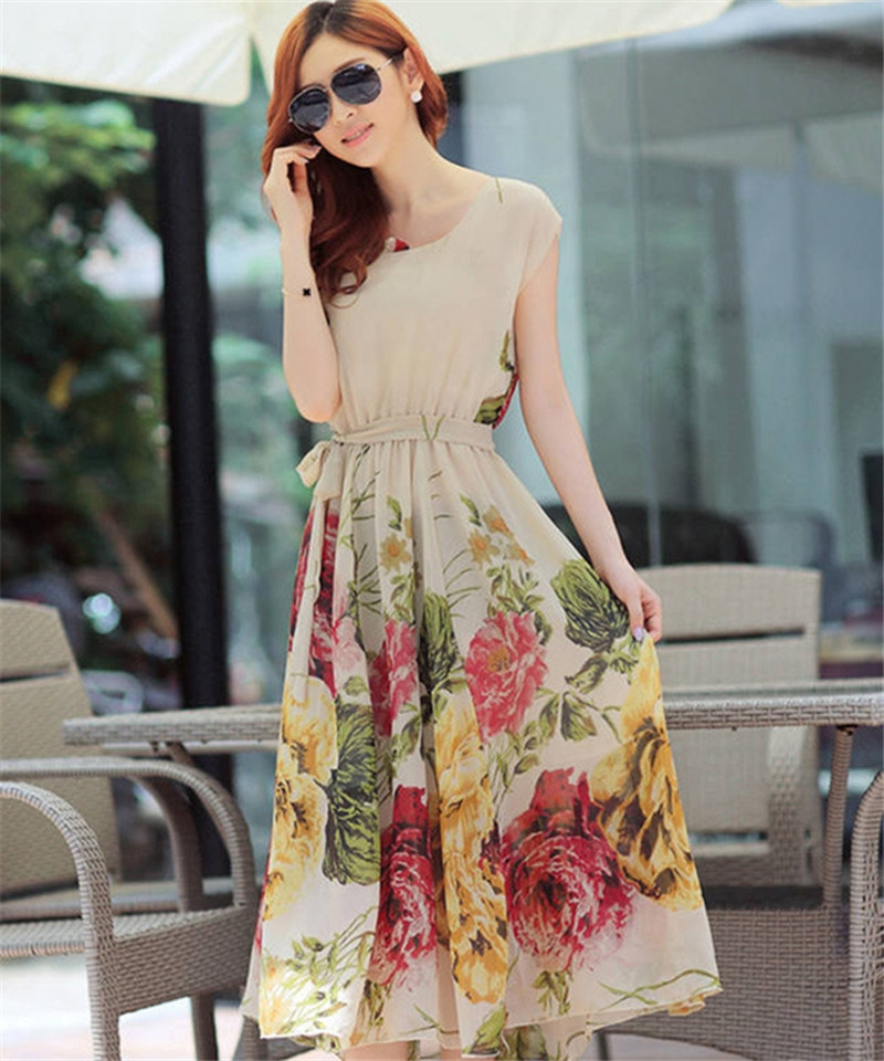 Ladies Sexy Dress O-Neck Large Size Bohemian Style Floral Mid-Calf Chiffon Long Dress Vestidos Femininos 2 Color Summer SMBD047(China (Mainland))