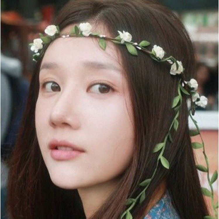 Free Shipping Bohemian Style Wreath Flower Crown Wedding Garland Forehead Hair Head Band Beach Wreath(China (Mainland))